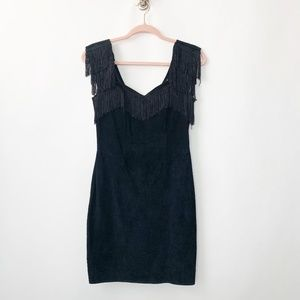 Simply Red Suede Leather Flapper Dress Black #2937